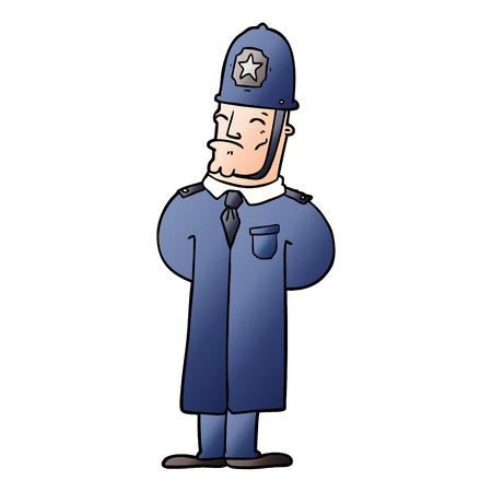 漫画のイラストで警官グラフィックデザイン。