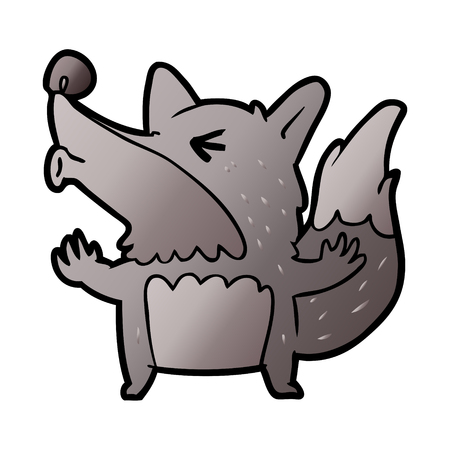cartoon halloween werewolf howling