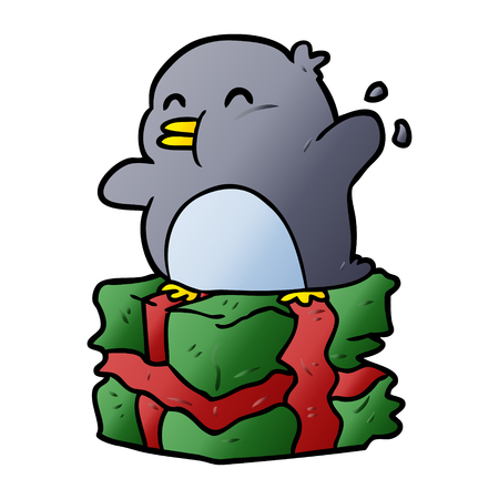 cartoon penguin on wrapped present