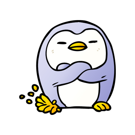 cartoon penguin tapping foot Archivio Fotografico - 95544485