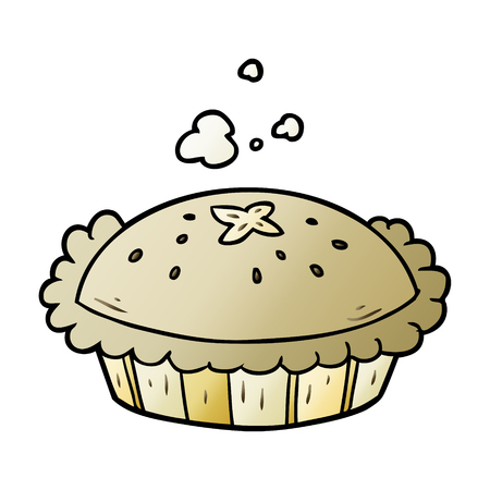 Hot cartoon pie fresh out of the oven graphic design in cartoon illustration.