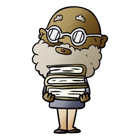 cartoon curious man with beard and glasses Illusztráció