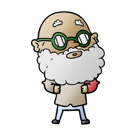 漫画のイラストでひげと眼鏡のグラフィックデザインを持つ男。