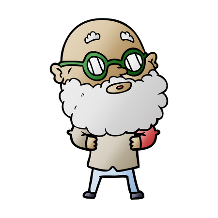 Man with beard and glasses graphic design in cartoon illustration.