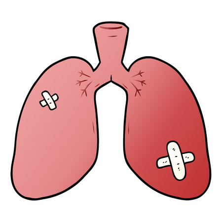 Repaired lungs, with medical plaster, graphic design in cartoon illustration.