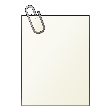 Paper with paperclip graphic design in cartoon illustration. Иллюстрация