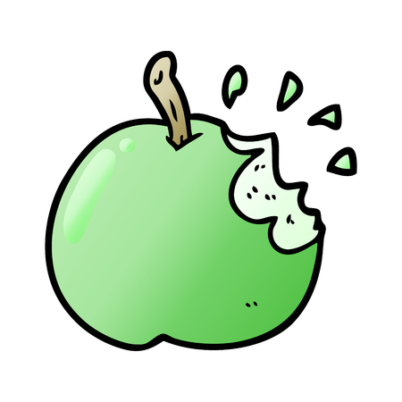 cartoon fresh bitten apple
