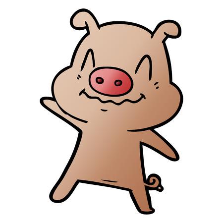 nervous cartoon pig Ilustrace