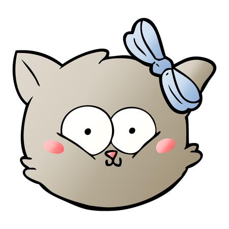 cute cartoon kitten face Illustration