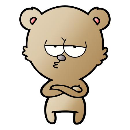 bored bear cartoon 向量圖像