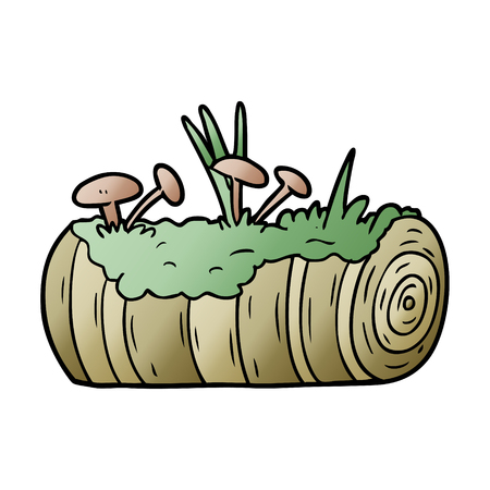 cartoon old log with mushrooms