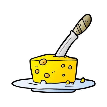 cartoon knife in block of cheese Foto de archivo - 95585063