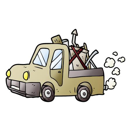 cartoon old truck full of junk Illustration