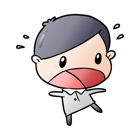 cute cartoon shocked man Ilustrace