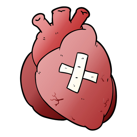 Sick heart with medical plaster graphic design in cartoon illustration. Ilustração