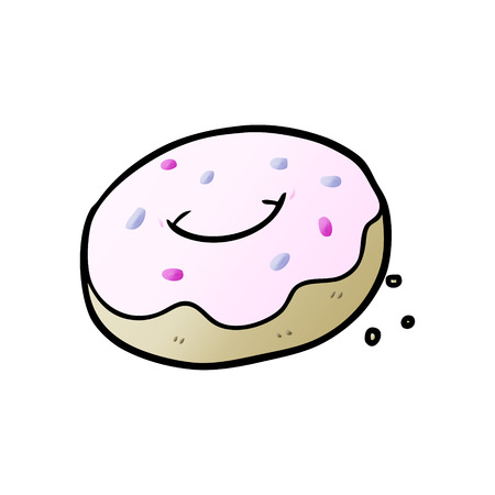 Donut with sprinkles in cartoon illustration. Çizim