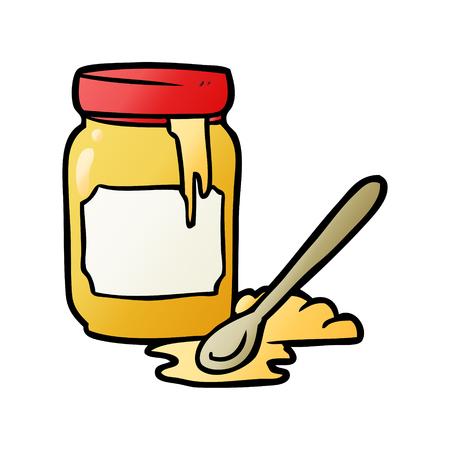 cartoon jar of honey 向量圖像
