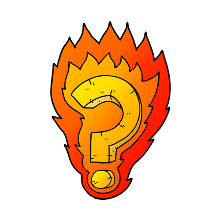 cartoon flaming question mark Banco de Imagens - 95546391