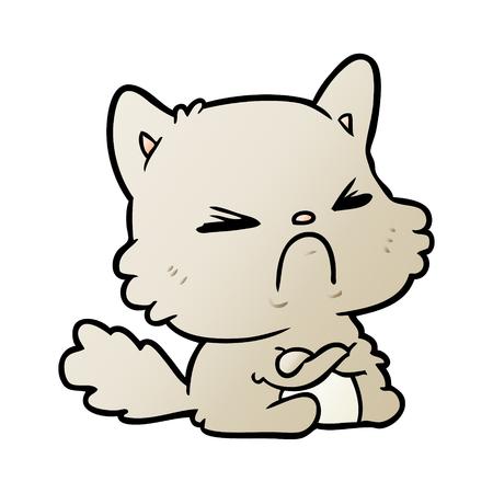 cute cartoon angry cat