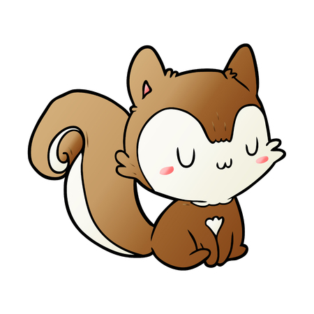 Squirrel  in cartoon illustration, white background. Ilustracja