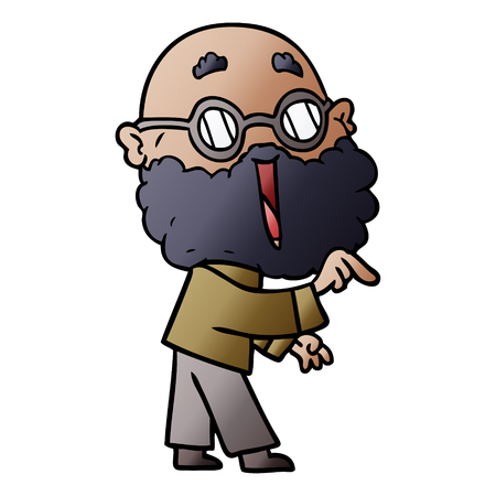 cartoon joyful man with beard pointing finger