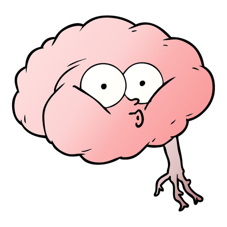 Cartoon impressed brain vector illustration