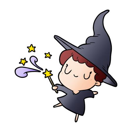 Cute cartoon witch casting spell vector illustration