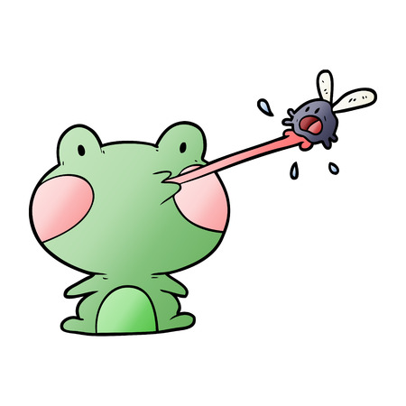 Cute cartoon frog catching fly with tongue vector illustration