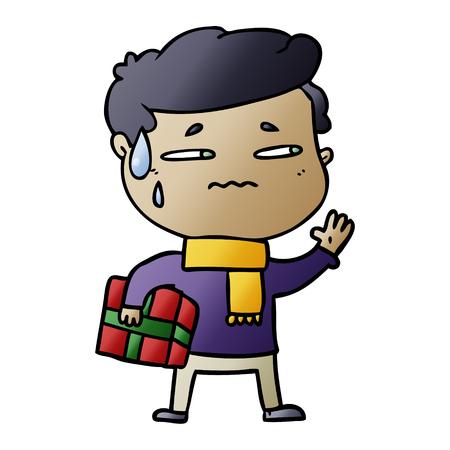 Hombre ansioso de dibujos animados con regalo de navidad Foto de archivo - 95544610