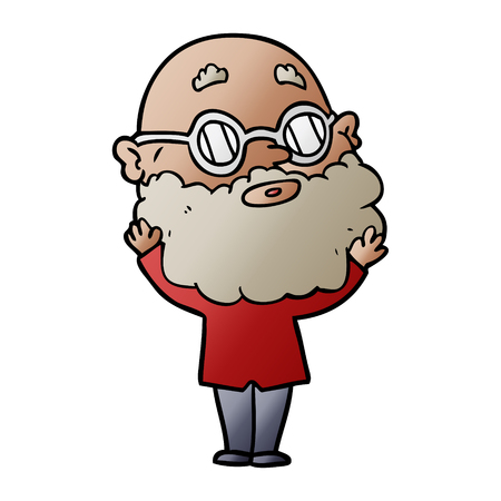 cartoon curious man with beard and glasses Ilustrace