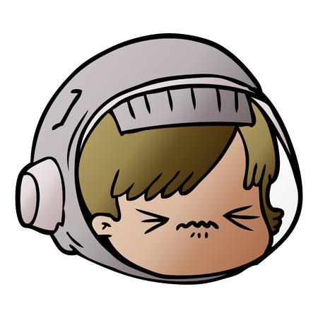 cartoon stressed astronaut face Stock Illustratie