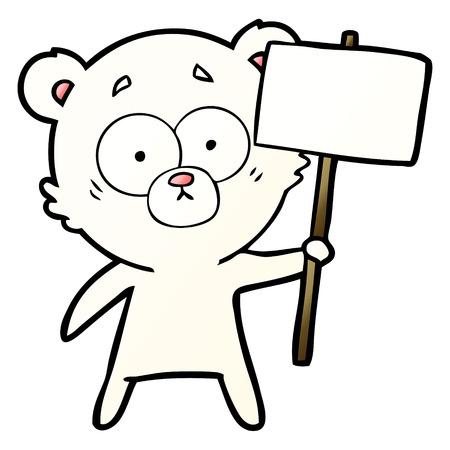 抗議サイン付き神経質なホッキョクグマ漫画  イラスト・ベクター素材