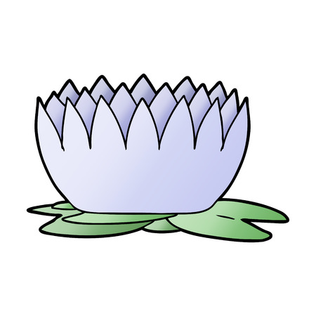 Waterlily in cartoon illustration, white background.