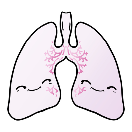 Lungs, with facial expression in cartoon illustration, white background.