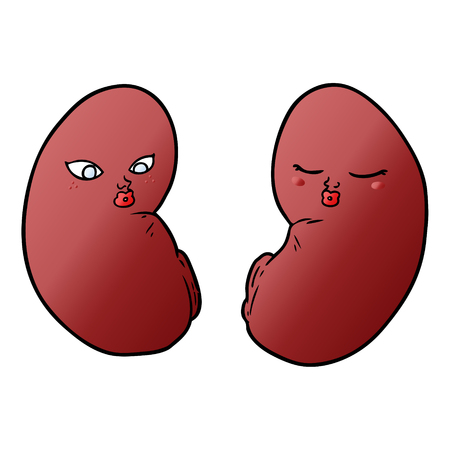 Kidneys with facial expression in cartoon illustration, white background.