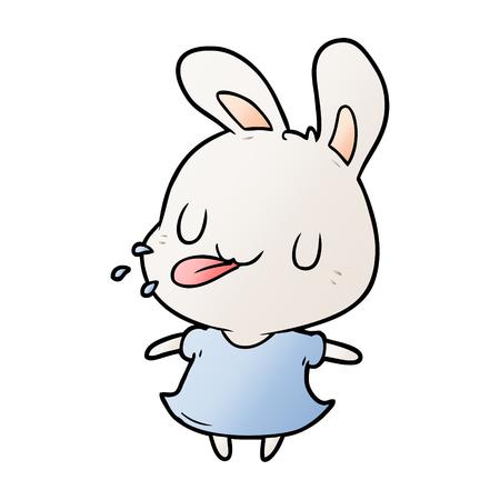 cute cartoon rabbit blowing raspberry