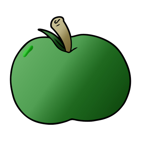 Green apple in cartoon illustration, in white background.