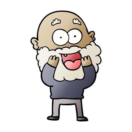 Cartoon crazy happy man with beard gasping vector illustration Banco de Imagens - 95585979