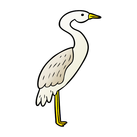 Stork in cartoon illustration, in white background. Ilustracja