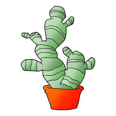 Cactus in cartoon illustration, in white background.  イラスト・ベクター素材