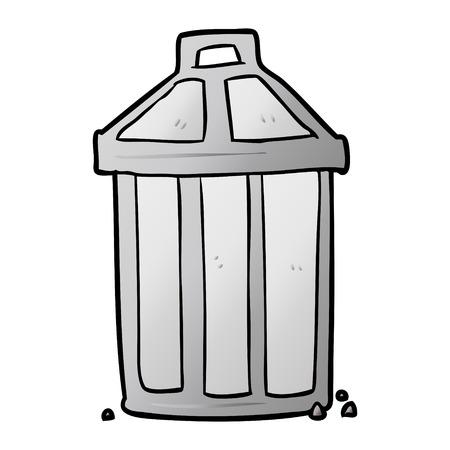 cartoon old metal garbage can Ilustração