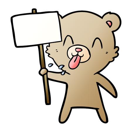 rude cartoon bear with protest sign