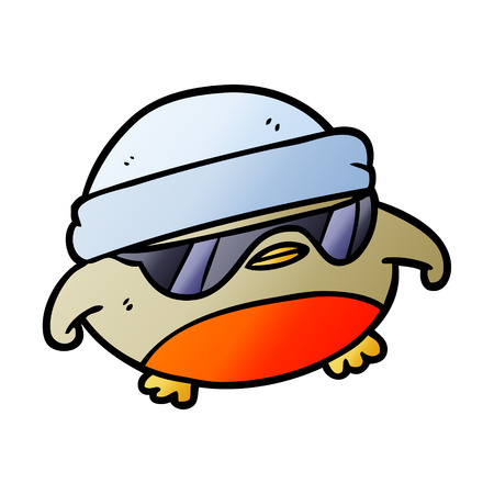 cool christmas robin cartoon with sunglasses Illustration
