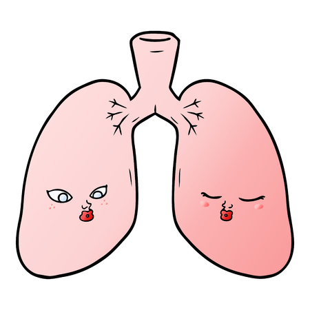 Lungs with facial expression in cartoon illustration, in white background.