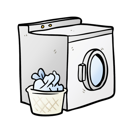 cartoon washing machine and laundry Çizim