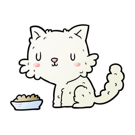 cute cartoon cat and food Illustration