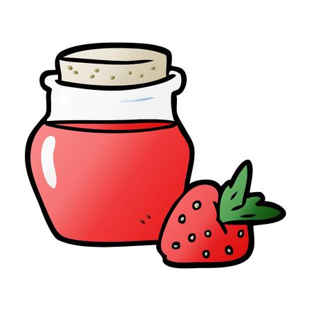Cartoon jar of strawberry jam Ilustração