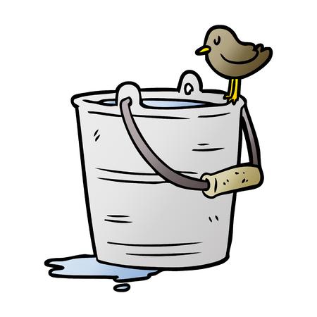 cartoon bird looking into bucket of water Stock Illustratie
