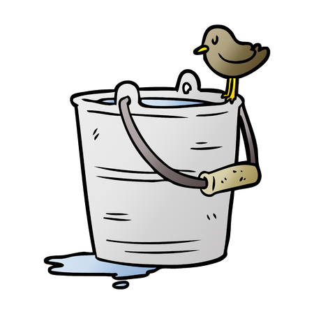 cartoon bird looking into bucket of water Illustration