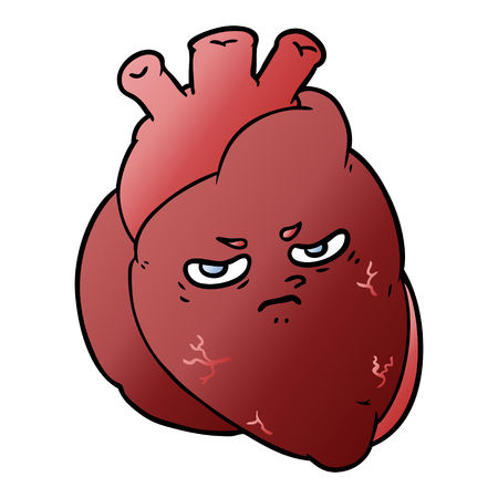 Heart with facial expression in cartoon illustration, in white background.